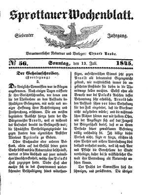 Sprottauer Wochenblatt vom 13.07.1845