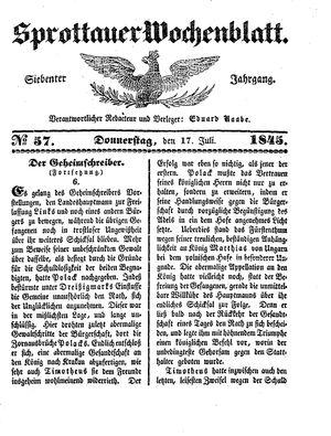 Sprottauer Wochenblatt on Jul 17, 1845