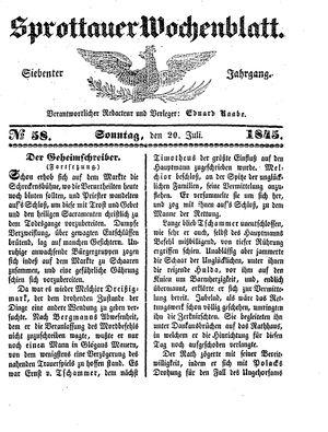 Sprottauer Wochenblatt vom 20.07.1845