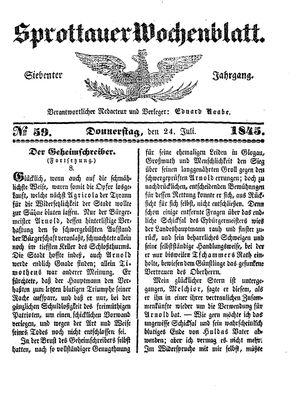 Sprottauer Wochenblatt vom 24.07.1845