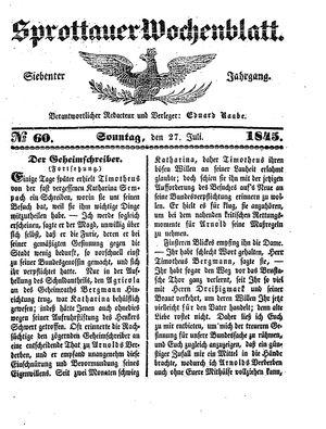 Sprottauer Wochenblatt vom 27.07.1845