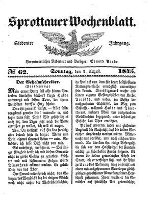 Sprottauer Wochenblatt vom 03.08.1845