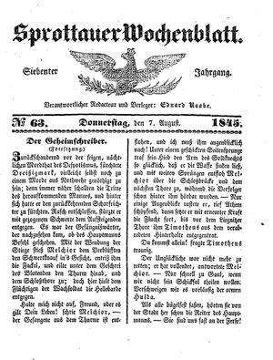 Sprottauer Wochenblatt vom 07.08.1845