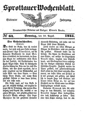 Sprottauer Wochenblatt vom 10.08.1845