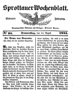 Sprottauer Wochenblatt vom 14.08.1845