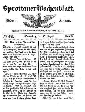 Sprottauer Wochenblatt vom 17.08.1845