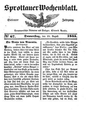 Sprottauer Wochenblatt vom 21.08.1845