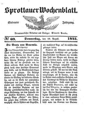 Sprottauer Wochenblatt on Aug 28, 1845