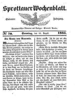 Sprottauer Wochenblatt on Aug 31, 1845