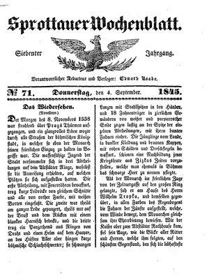 Sprottauer Wochenblatt vom 04.09.1845