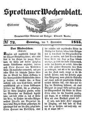 Sprottauer Wochenblatt vom 07.09.1845