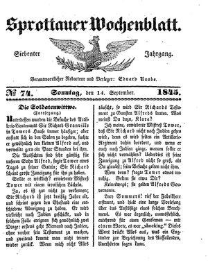 Sprottauer Wochenblatt vom 14.09.1845
