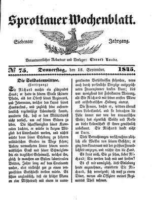 Sprottauer Wochenblatt vom 18.09.1845