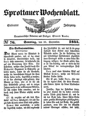 Sprottauer Wochenblatt vom 21.09.1845