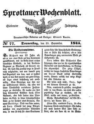 Sprottauer Wochenblatt vom 25.09.1845