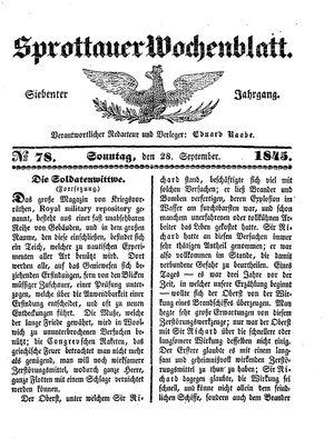 Sprottauer Wochenblatt on Sep 28, 1845