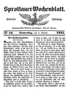 Sprottauer Wochenblatt on Oct 2, 1845