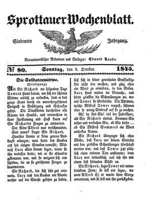 Sprottauer Wochenblatt vom 05.10.1845