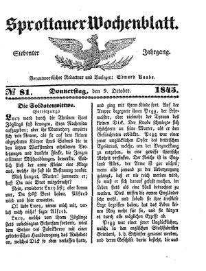 Sprottauer Wochenblatt on Oct 9, 1845