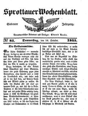 Sprottauer Wochenblatt vom 16.10.1845