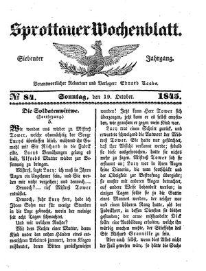 Sprottauer Wochenblatt vom 19.10.1845