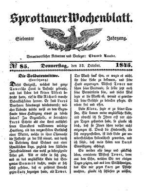 Sprottauer Wochenblatt vom 23.10.1845