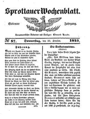 Sprottauer Wochenblatt vom 30.10.1845