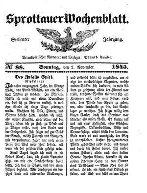 Sprottauer Wochenblatt vom 02.11.1845