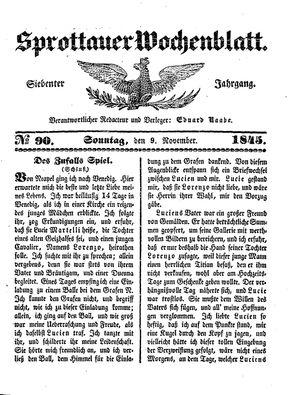Sprottauer Wochenblatt vom 09.11.1845