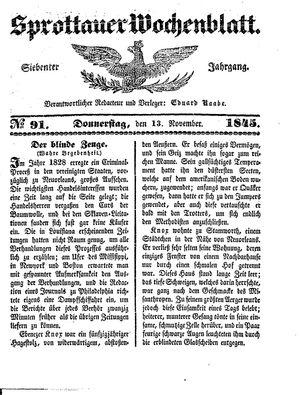 Sprottauer Wochenblatt vom 13.11.1845
