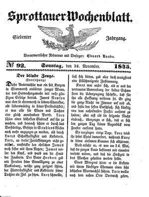 Sprottauer Wochenblatt vom 16.11.1845