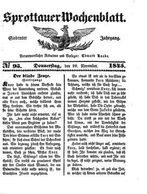 Sprottauer Wochenblatt vom 20.11.1845