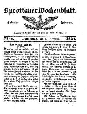 Sprottauer Wochenblatt vom 27.11.1845