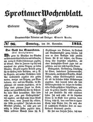Sprottauer Wochenblatt vom 30.11.1845