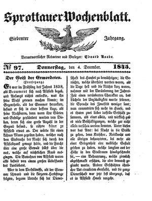Sprottauer Wochenblatt vom 04.12.1845
