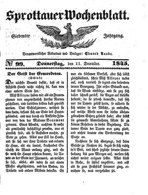 Sprottauer Wochenblatt vom 11.12.1845