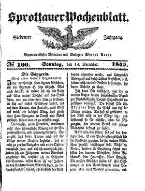 Sprottauer Wochenblatt vom 14.12.1845