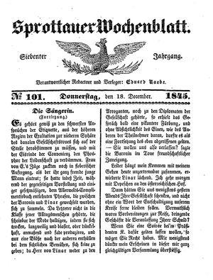 Sprottauer Wochenblatt vom 18.12.1845