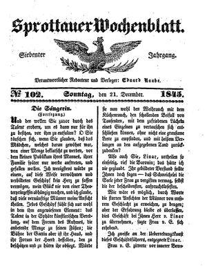Sprottauer Wochenblatt vom 21.12.1845
