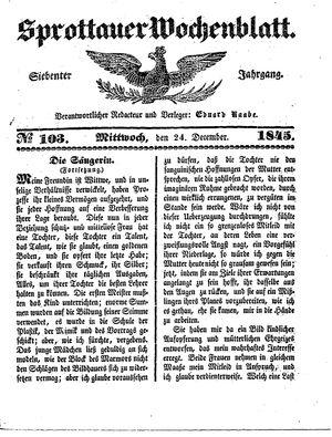Sprottauer Wochenblatt vom 24.12.1845