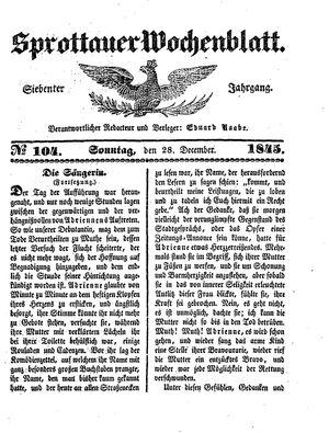 Sprottauer Wochenblatt on Dec 28, 1845