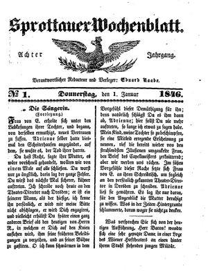 Sprottauer Wochenblatt vom 01.01.1846