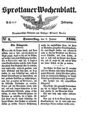 Sprottauer Wochenblatt vom 08.01.1846