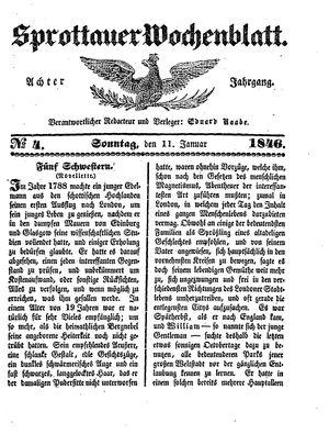 Sprottauer Wochenblatt vom 11.01.1846