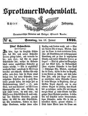 Sprottauer Wochenblatt vom 18.01.1846