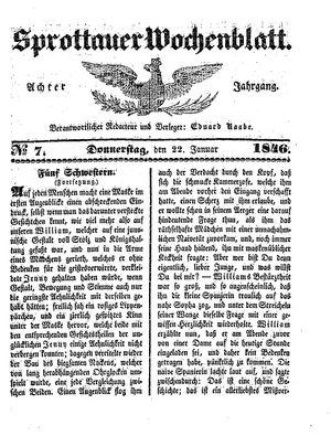 Sprottauer Wochenblatt vom 22.01.1846