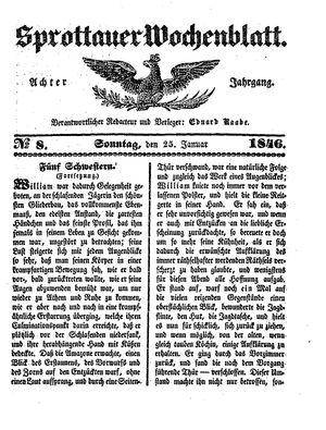 Sprottauer Wochenblatt vom 25.01.1846