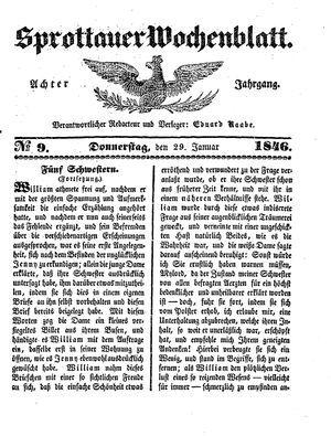 Sprottauer Wochenblatt vom 29.01.1846