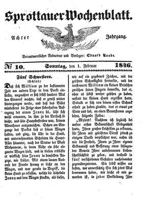 Sprottauer Wochenblatt vom 01.02.1846