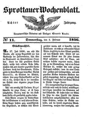 Sprottauer Wochenblatt on Feb 4, 1846